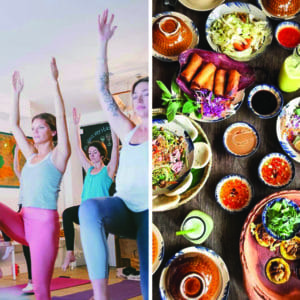 Yoga class in session and vietnamese brunch buffet