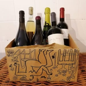 A box containing six bottles of wine