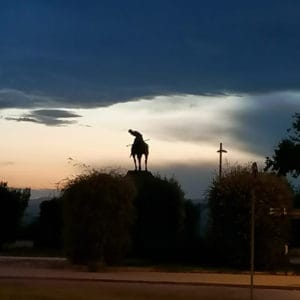 horse statue at sunset in montjuic barcelona
