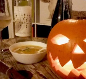 halloween pumpkin with soup and wine